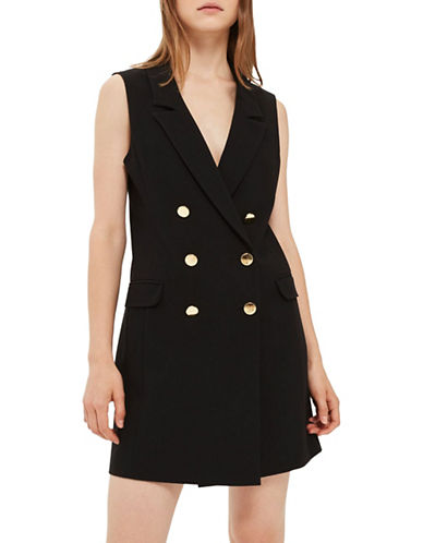 Topshop Sleeveless Blazer Dress-BLACK-UK 8/US 4