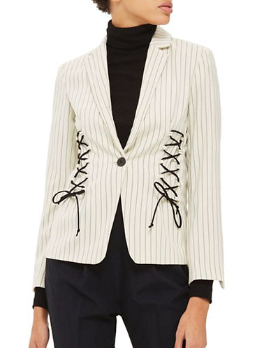 Topshop Stripe Blazer with Lace Detailing-IVORY-UK 16/US 12