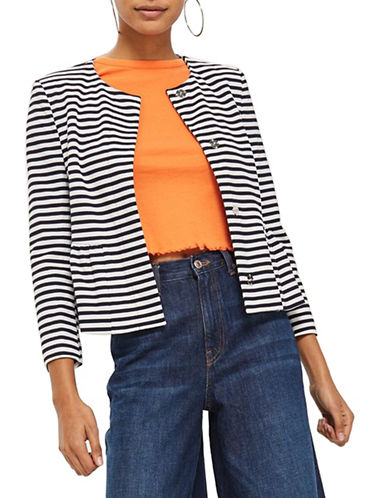 Topshop Striped Crop Blazer-NAVY-UK 10/US 6