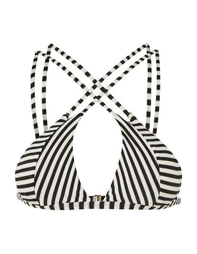 Topshop Stripe Cut-Out Triangle Swim Top-MONOCHROME-UK 8/US 4