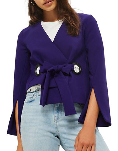 Topshop Eyelet Crop Jacket-INDIGO-UK 12/US 8