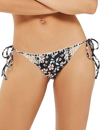 Topshop Floral Crochet Tie Side Bikini Bottoms-BLACK-UK 12/US 8