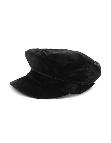 Topshop Velvet Baker Boy Hat-BLACK-One Size