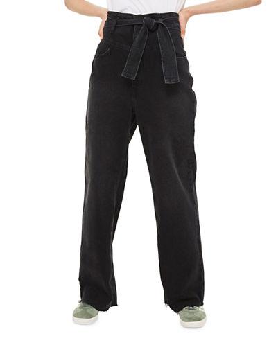 Topshop MOTO Belted Wide-Leg Jeans 30-Inch Leg-WASHED BLACK-25X30