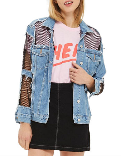 Topshop MOTO Oversized Denim Fishnet Jacket-DENIM-UK 8/US 4