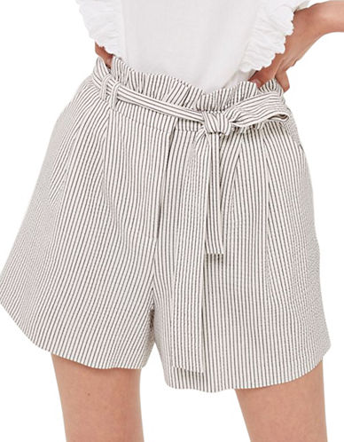 Topshop Stripe Paperbag Shorts-MONOCHROME-UK 14/US 10