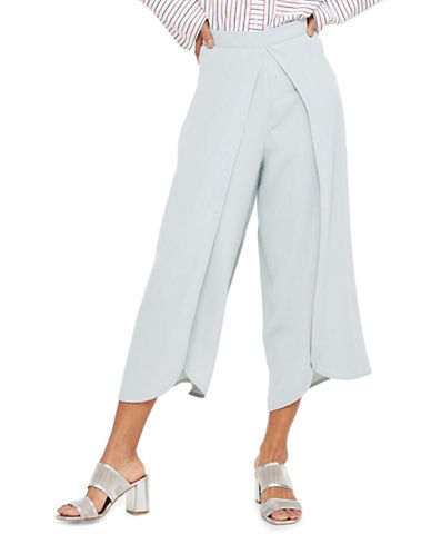Topshop Split Wrap Cropped Trousers-DUCK EGG-UK 10/US 6