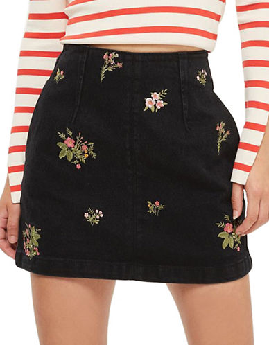 Topshop MOTO Floral A-Line Skirt-WASHED BLACK-UK 12/US 8