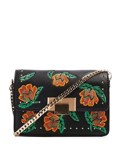 Topshop Ria Floral Crossbody Bag-BLACK-One Size