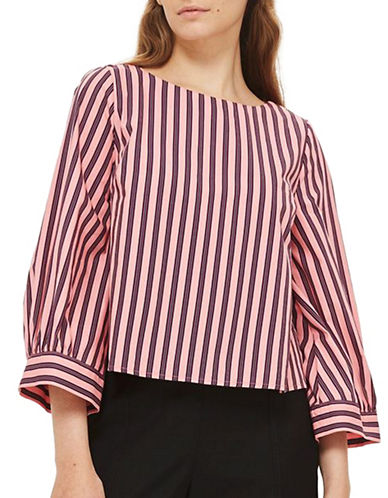 Topshop Cropped Striped Top-BURGUNDY-UK 6/US 2