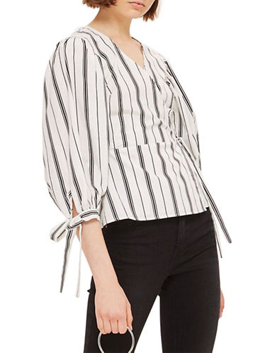 Topshop Stripe Balloon Sleeve Top-MONOCHROME-UK 10/US 6