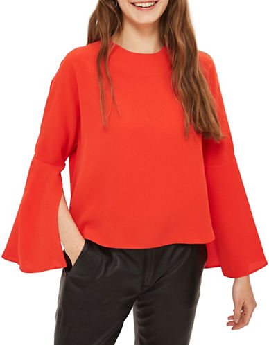 Topshop Split Sleeve Blouse-RED-UK 8/US 4
