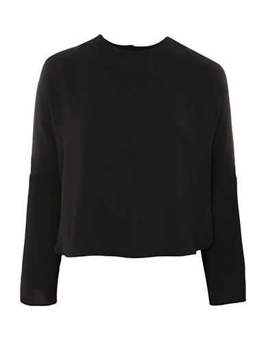 Topshop Split Sleeve Blouse-BLACK-UK 6/US 2