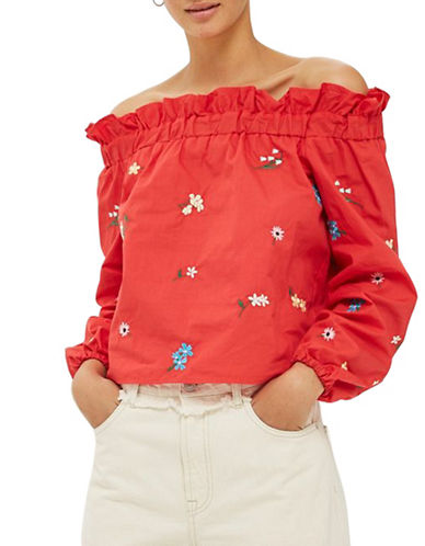 Topshop Embroidered Poplin Bardot Top-RED-UK 10/US 6