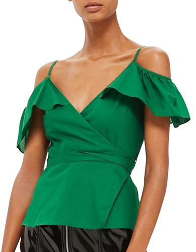 Topshop Cold-Shoulder Frill Wrap Top-GREEN-UK 10/US 6