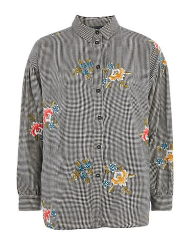 Topshop Houndstooth Print Embroidered Shirt-GREY-UK 14/US 10