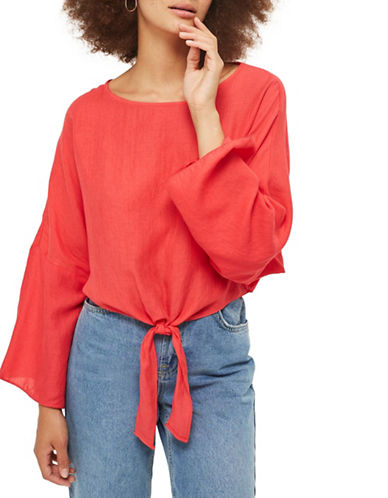 Topshop Knot-Front Top-RED-UK 12/US 8