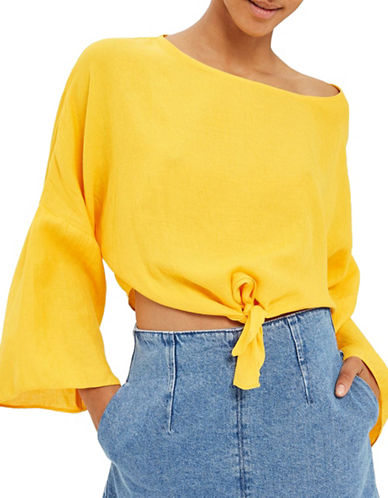 Topshop Knot-Front Top-MUSTARD-UK 10/US 6