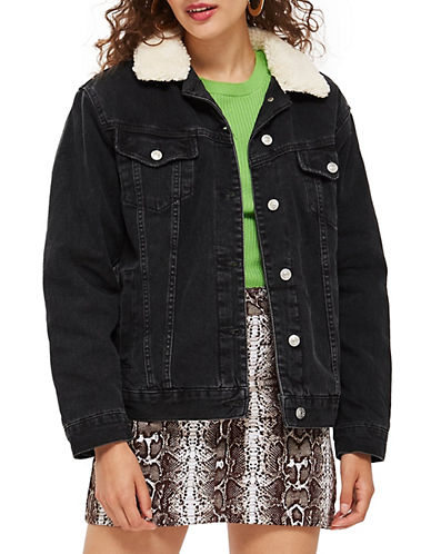Topshop MOTO Oversized Borg Jacket-WASHED BLACK-UK 12/US 8
