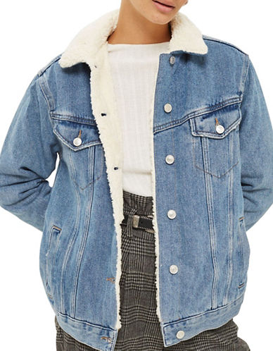 Topshop MOTO Oversized Borg Jacket-MID DENIM-UK 12/US 8