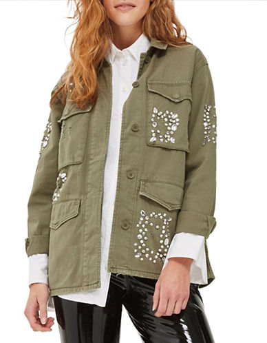 Topshop Rhinestone Embellished Shacket-KHAKI-UK 6/US 2