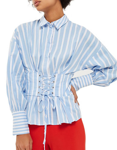 Topshop Wide Stripe Corset Shirt-LIGHT BLUE-UK 12/US 8