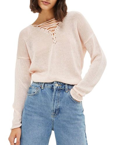 Topshop Calibrate Knit Top-PINK-UK 8/US 4