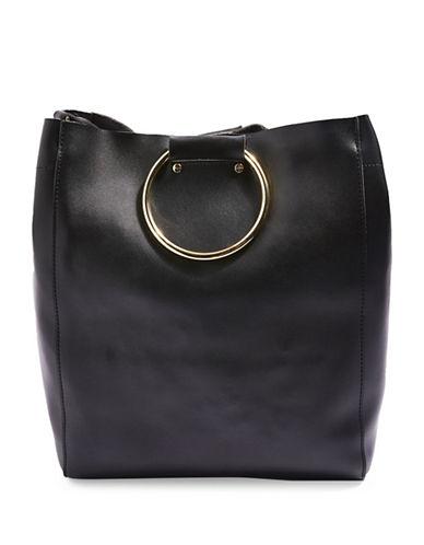 Topshop New Seb Metal Handle Shopper-BLACK-One Size