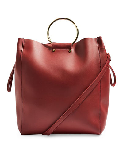 Topshop New Seb Metal Handle Shopper-RED-One Size