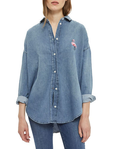 Topshop MOTO Flamingo Shirt-DENIM-UK 10/US 6