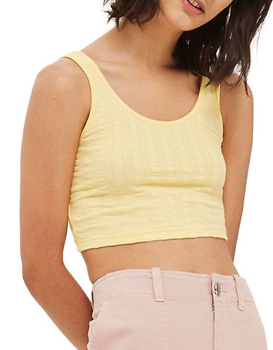 Topshop Lulu Ribbed Crop Tank Top-YELLOW-UK 10/US 6