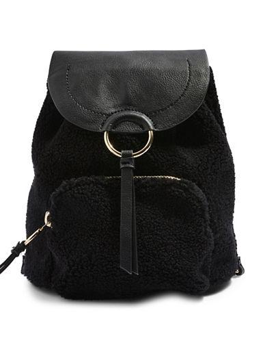 Topshop Mini Borg Backpack-BLACK-One Size