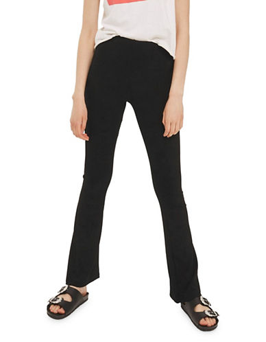 Topshop PETITE Skinny Rib Flared Trousers-BLACK-UK 8/US 4