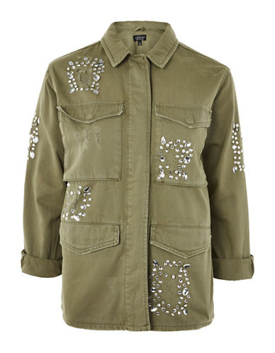 Topshop PETITE Crystal Embroidered Shacket-KHAKI-UK 12/US 8
