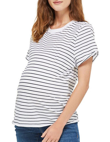 Topshop MATERNITY Striped T-Shirt-NAVY BLUE-UK 8/US 4