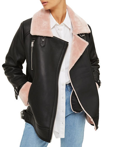 Topshop Faux Shearling Biker Jacket-PINK-UK 10/US 6
