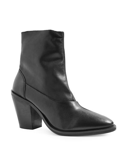 Topshop May 2 Leather Ankle Boots-BLACK-EU 37/US 6.5