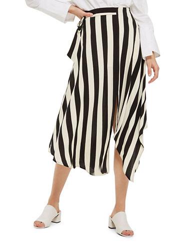 Topshop Stripe Hanky Hem Midi Skirt-MONOCHROME-UK 8/US 4