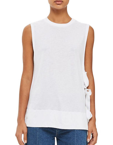 Topshop Tie Side Tank Top by Boutique-WHITE-UK 10/US 6