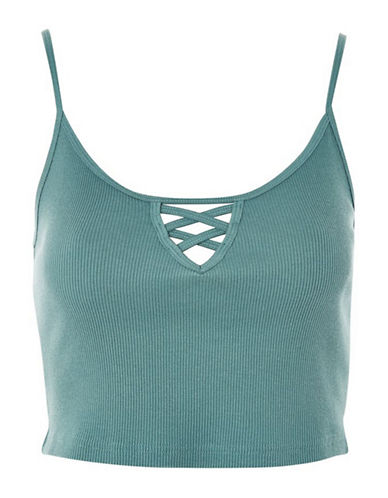 Topshop Lotti Crop Top-TEAL-UK 14/US 10