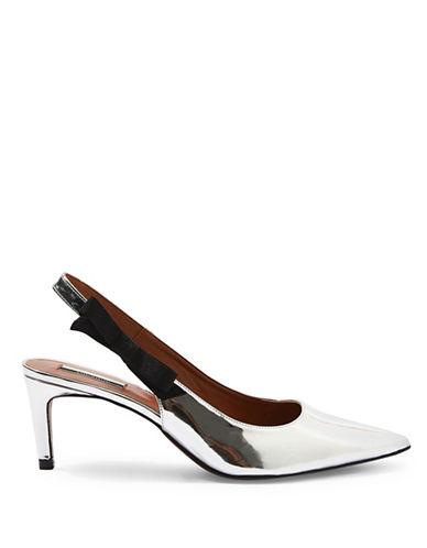 Topshop Jump Patent Leather Slingback Heels-SILVER-EU 39/US 8.5