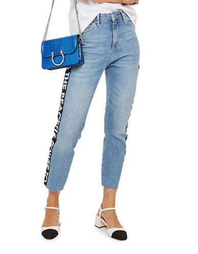Topshop MOTO Slogan Straight Leg Jeans 30-Inch Leg-DENIM-25X30
