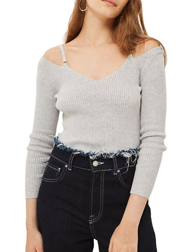 Topshop Knitted Strap Detail Top-GREY MARL-UK 14/US 10