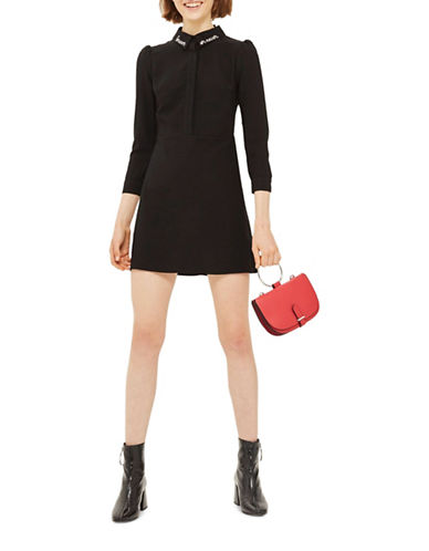 Topshop Forever Never A-Line Shirtdress-BLACK-UK 8/US 4