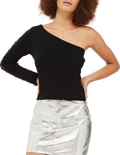 Topshop One Shoulder Knitted Top-BLACK-UK 14/US 10