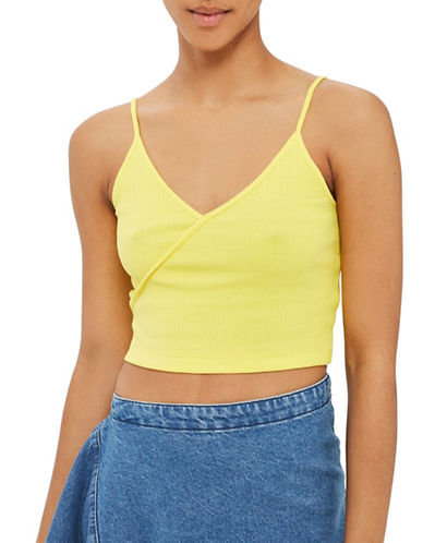 Topshop Strappy Crop Top-YELLOW-UK 6/US 2
