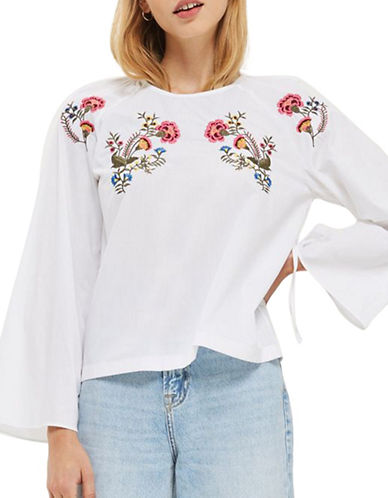 Topshop Floral Embroidered Poplin Top-WHITE-UK 12/US 8