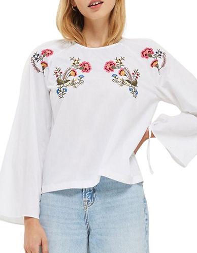 Topshop Floral Embroidered Poplin Top-WHITE-UK 6/US 2