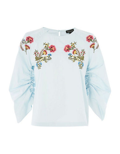 Topshop Embroidered Poplin Top-BLUE-UK 10/US 6