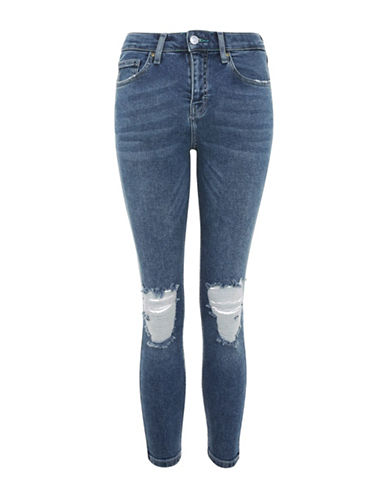 Topshop PETITE High Waisted Ripped Jamie Jeans-MID DENIM-28X28
